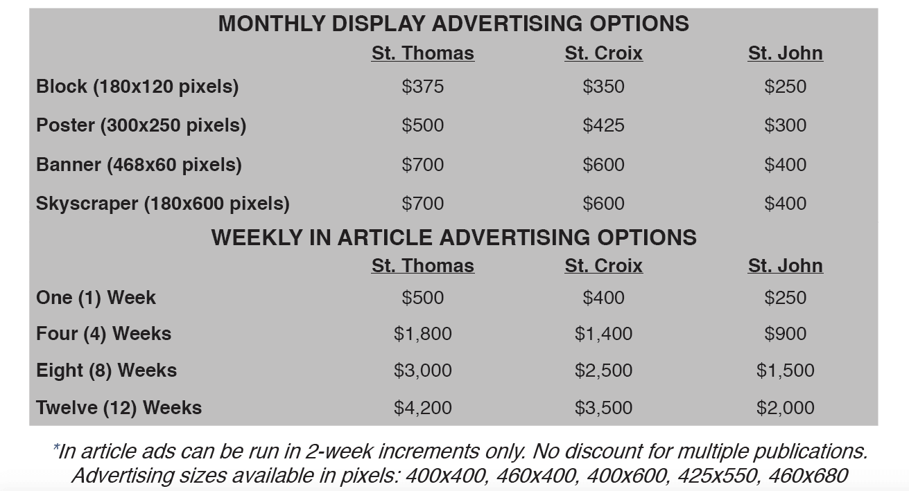 Advertising Rates for monthly and weekly options