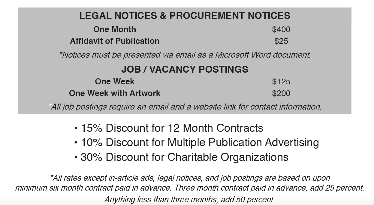 Legal notice and job posting rates